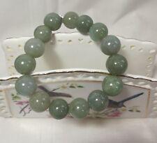 Certificated A grade Jadeite Jade Oil green 14mm beads bracelet L21cm adjustment