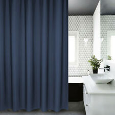 Espesar Cortina de ducha impermeable poliéster extra larga con ganchos gris azul