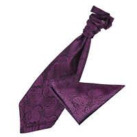Purple Mens Pre-Tied Cravat Handkerchief Set Woven Floral Paisley by DQT