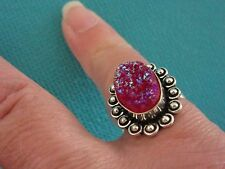 925 Sterling Silver Ring With Pink Titanium Druzy UK L US 5.75 (rg2754)