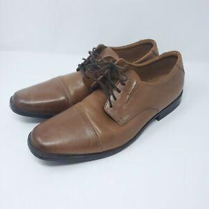 Clarks Kyros Plain 15770 Brown Leather Dress Casual Oxfords Shoes Men's Size 14M
