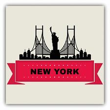"New York City Silhouette Statue Of Liberty Car Bumper Sticker Decal 5"" x 5"""