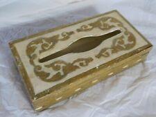 Hollywood Regency Florentine Italy tole painted tissue box vanity dresser gesso