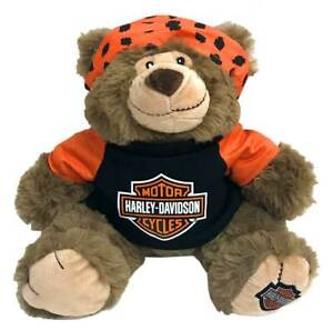 Harley-Davidson Big Ed 12 in. Huggy Stuffed Plush Bear, Black & Orange 9950849