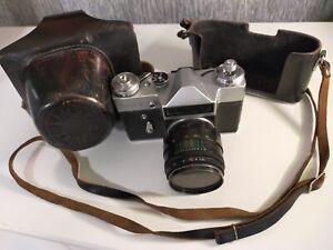 Zenit E 35mm SLR Film Camera 2/58 Lens Complete With Original Case 1960s - 1980s
