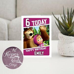 Personalised Disneys Masha and The Bear Birthday Card A5 260gsm Gloss Finish V2