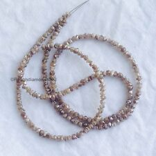 "20 Carat Natural Brown Uncut Rough Loose Diamond Beads 16"" Strand Chain Necklace"