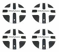 4 KMC Wheels Satin Black, Silver Wheel Center Hub Caps 5Lug KM675 Splice HE874