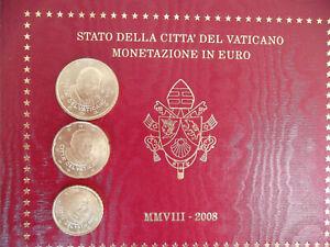 PIÈCES EURO VATICAN 2008 BENOIT XVI 10-20-50 cents NEUVES ISSUES DU BU