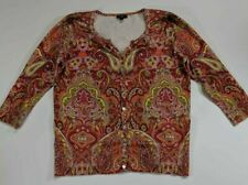 Talbots Womens Cardigan Sweater Red Multicolor Paisley 3/4 Sleeve Crew Petites M