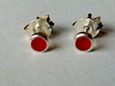 STERLING SILVER SMALL ROUND 4mm. STUD EARRINGS WITH CARNELIAN STONES £7.50  NWT