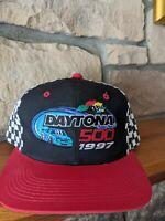 Vintage Daytona 500 Hat Snapback Cap NASCAR Racing 1997 VTG Black/Blue & Red NWT