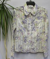 Cowgirl Up 2230 Women M Blouse Shirt Western Crochet Cheer Button Down Floral