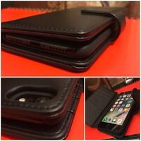 Apple iPhone 6 Genuine Cowhide Real Leather Wallet Executive Book Case Black