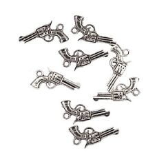 10PCS Tibetan Silver Hand Gun Weapon Bead Charms Pendant Fit DIY Jewelry 21*16mm