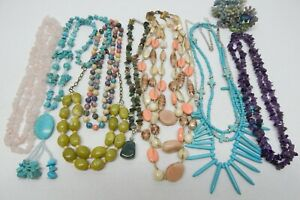 GLASS, STONE & TURQUOISE HOWLITE BEAD NECKLACE LOT - FASHION JEWELRY LOT