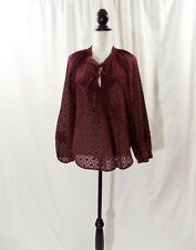 Cupio Women's Sheer Burgundy Long Sleeve Pull Over Blouse Shirt Top Size Large