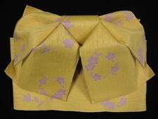 Used Subtle Yellow/Lilac 'Easy Wear' Tsuke Obi for Yukata/Kimono (Butterfly Bow)