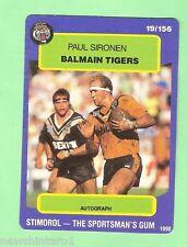 1990 BALMAIN TIGERS RUGBY LEAGUE CARD #19  PAUL SIRONEN