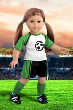 """Soccer Girl - Clothes for 18"""" American Girl Doll, Shirt Shorts Knee Socks Cleats"""