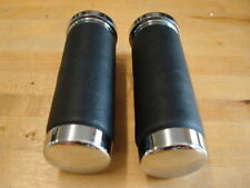 LEATHER CUSHION GRIPS W/ CHROME ENDS FOR HARLEY 1973 & UP