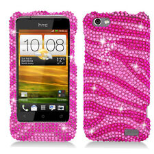 Virgin Mobile HTC One V Crystal Diamond BLING Hard Case Phone Cover Pink Zebra