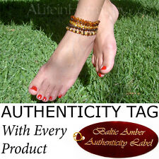 Certified Baltic Amber ADULT ANKLET natural healing (25-27cm)