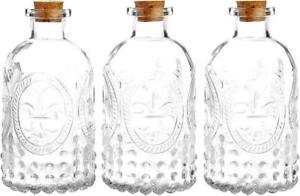 Set of 3 Antique Clear Glass Embossed Apothecary Flower Bottles with Cork Lids