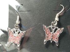 Style Hook Earrings - Fashion Jewelry Handmade Silver Tone Pink Butterfly Drop