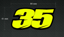 2 x CAL CRUTCHLOW 35 Stickers/Decals 80mm - Fluorescent & Laminated - Moto GP