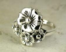 STUNNING STERLING SILVER HAWAIIAN PLUMERIA RING size 9  style# r0539