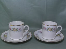 "2 Mayfair ""Alpine"" Staffordshire Bone China Coffee Cans Cups & Saucers"