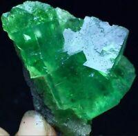 57g Transparent Deep Green Cubic Fluorite Crystal Cluster Mineral Specimen China