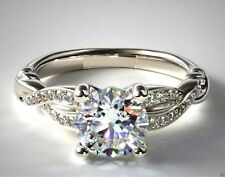 2Ct Round-Cut VVS1 Diamond Solitaire Lovely Engagement Ring 10K White Gold Over