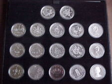 Boxed Canadian Commemorative Silver Dollar Collection 17 Mixed Dates in Capsules