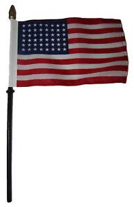 "48 Star USA Linear American 4""x6"" Flag Desk Set Table Wooden Stick Staff"