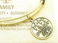 Wind and Fire Family Gold Charm Wire Bangle Stackable Bangle Bracelet USA Gift