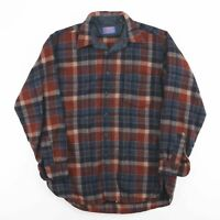 Vintage PENDLETON Checked 1980s Made In USA Wool Flannel Shirt Size Mens Large