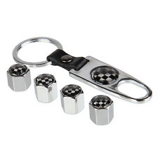 New Finest Quality Silver F1 Motorsports Tyre Valve Dust Cap & Spanner Keyring