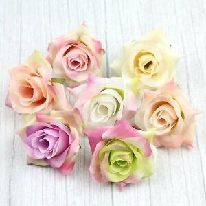 6/120Pcs 6cm Silk Artificial Rose Flower Heads Bulk Wedding Home DIY Decor Craft