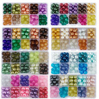100pc Mixed Glass Glass Pearl Beads Round Loose Spacer Craft Jewelry Making 10mm