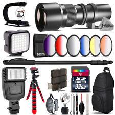 500mm Telephoto Lens for Nikon D3100 D3200 - Video Kit +  Flash - 32GB Bundle
