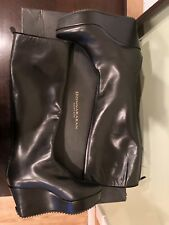 Used Donna Karan New York Black Leather Boots Saw Wedge Size 7