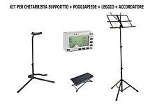 KIT PER CHITARRA  Supporto per chitarra + Poggia piede + Leggio + accordatore