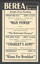 1941 Berea Theatre Man Power W/Edward G Robinson & George Raft Berea Oh Etc