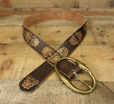 Olga Santini Leather Belt Rhinestone Flower Floral Bling 60624-3 Brown Medium 32