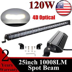 25'' 120W LED SPOT Work Light Bar Single Row 4D Optical Driving Fog Chevrolet