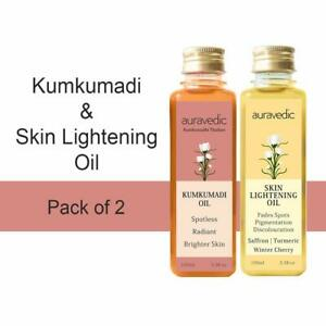 Auravedic Skin Lightening Oil And Kumkumadi Oil, 100ml Pack Of 2