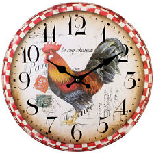 """NEW CHICKEN COCKEREL WALL CLOCK HANGING 34CM 13.4"""" CHECKED PATTERN CL_76311"""