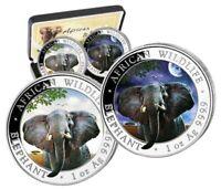 Silbermünzen African Wildlife, Somalia Elefant 2021 Tag und Nacht, day and night